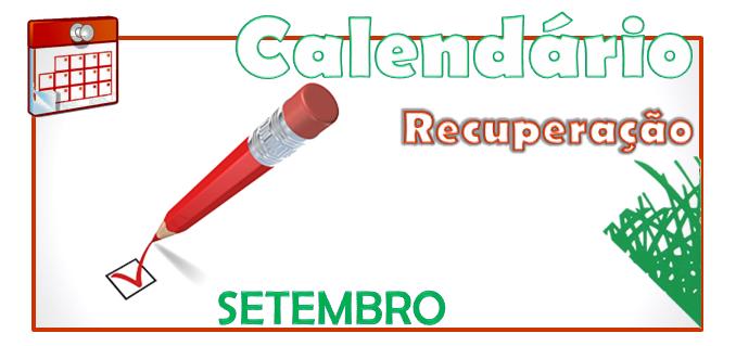 Calendário de Recuperação - setembro