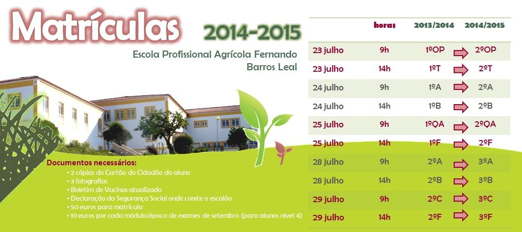 Matrículas para 2014_2015