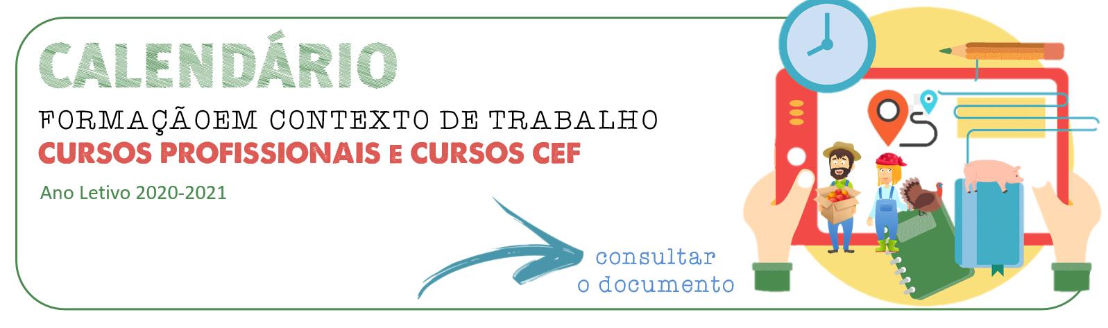 Calendário de Formação em Contexto de Trabalho - Cursos Profissionais e CEF
