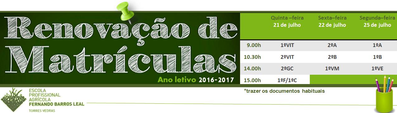Matrículas Renovação 2016_2017